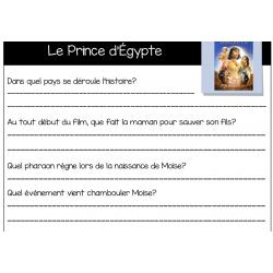Questionnaire de film Le prince d'Égypte - ECR