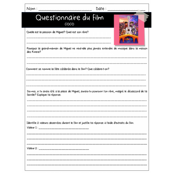 Questionnaire film Coco