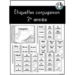 Étiquettes d'étude des verbes 3e année