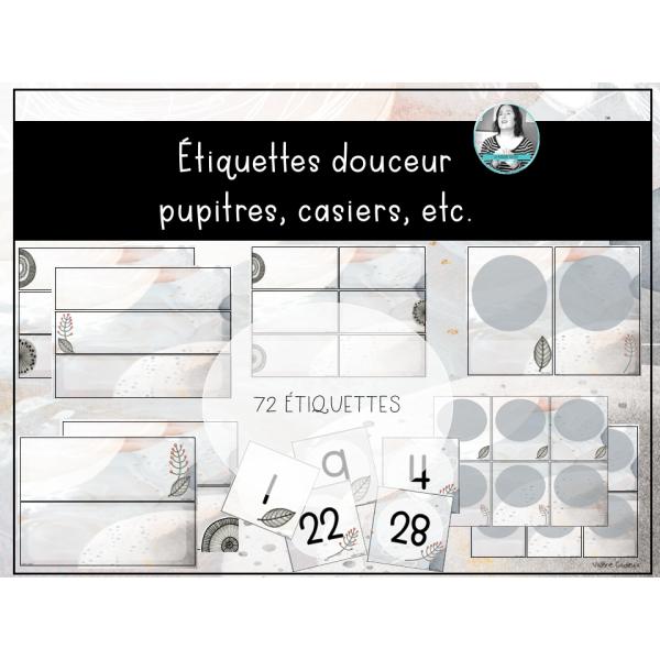 Étiquettes douceur bacs/pupitres/casiers/etc