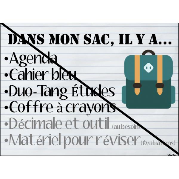 Organisation sac d'école
