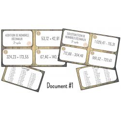 CÀT addition et soustraction nombres décimaux
