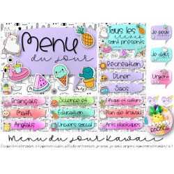 Menu du jour Kawaii
