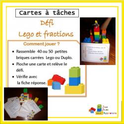 Cartes à tâches, défi fractions et Lego