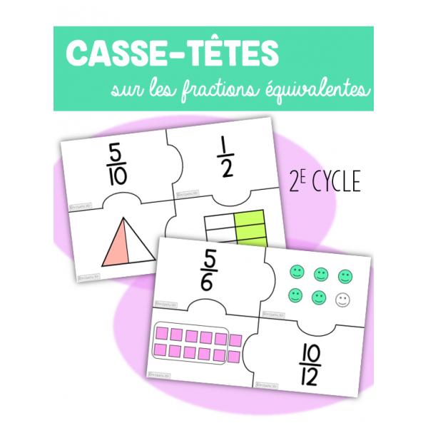 Casse-têtes fractions équivalentes 2e cycle