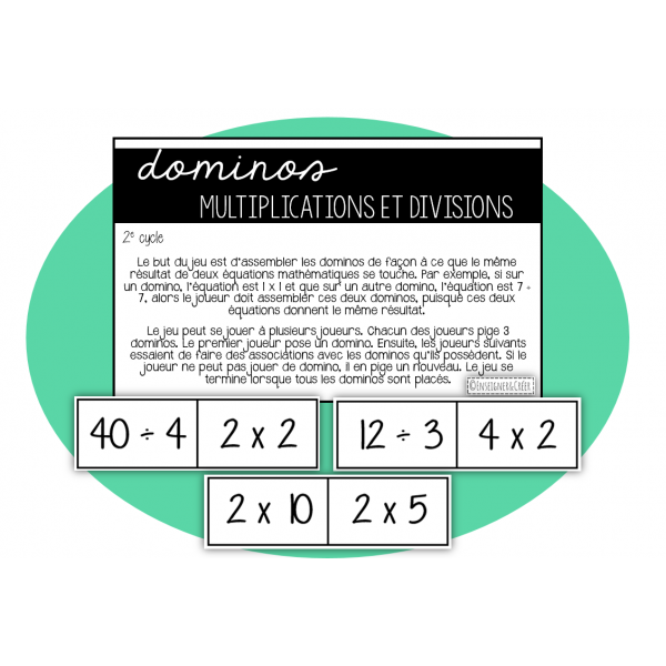 Dominos des multiplications et divisions 2e cycle