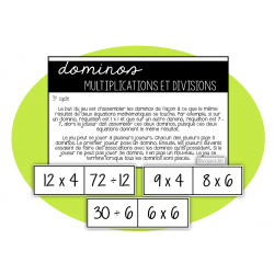 Dominos des multiplications et divisions 3e cycle