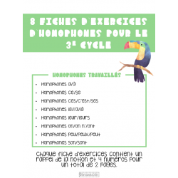 Fiches d'exercices homophones - 3e cycle