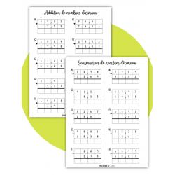 Fiches addition et soustraction de nb décimaux