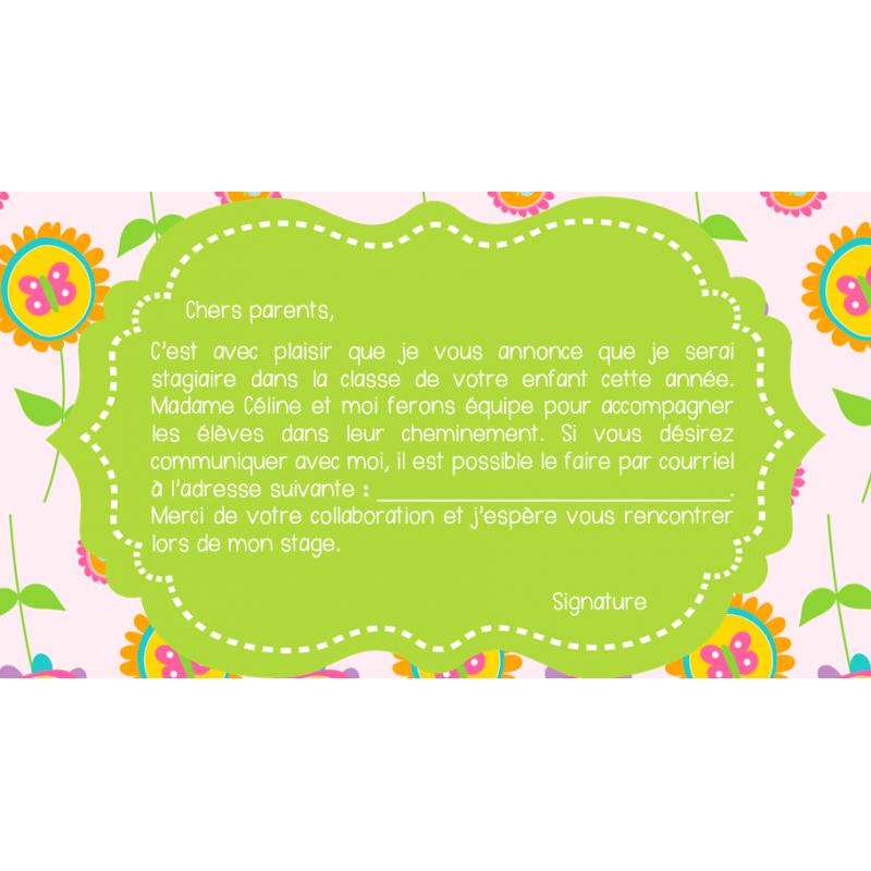 Lettre de présentation aux parents pour stagiaire