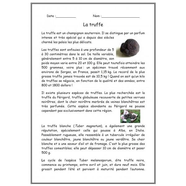 Compréhension de texte La truffe
