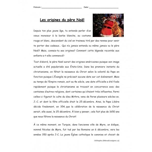 Les origines du père Noël, comp. de lecture