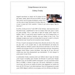 Comp. de lecture Sidney Crosby