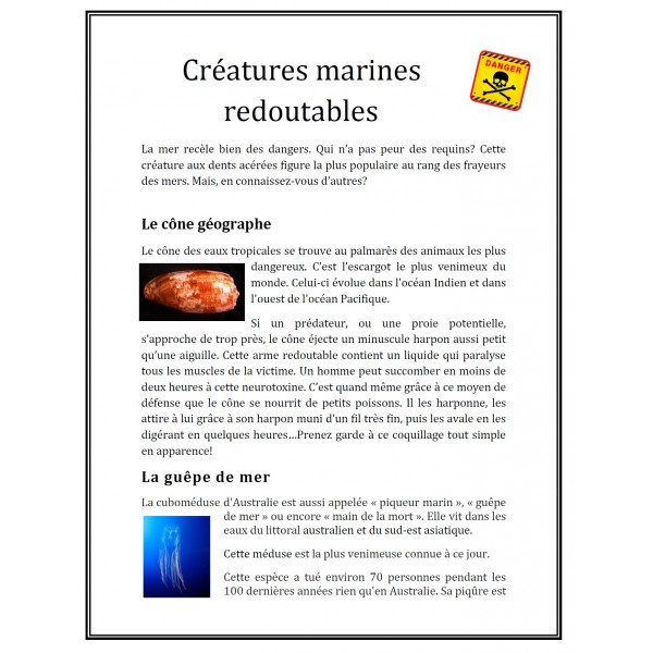 Créatures marines redoutables