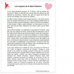 Comp. de lecture Les origines de la Saint-Valentin