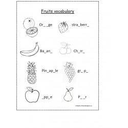 Fruits vocabulary