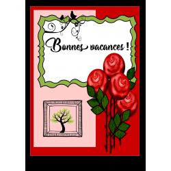 """Affiche """"Bonnes vacances!"""" roses"""