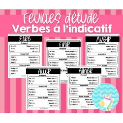 Feuilles d'étude des verbes à l'indicatif
