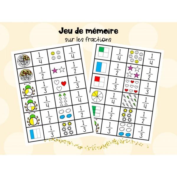 Jeu de mémoire sur les fractions - 1er cycle