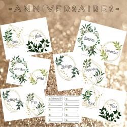 Affichage - Anniversaires du mois (thème plante)