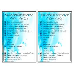 Liste à cocher pour ne rien oublier (modifiable)