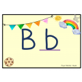 Alphabet thème arc-en-ciel script avec images.