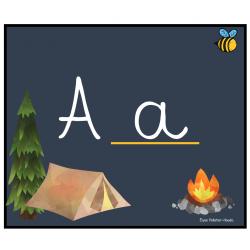 alphabet cursif  theme camping