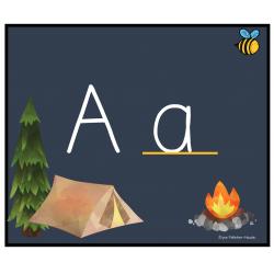 alphabet script thème camping avec images