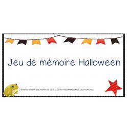 Jeu de mémoire math Halloween (0 à 20)
