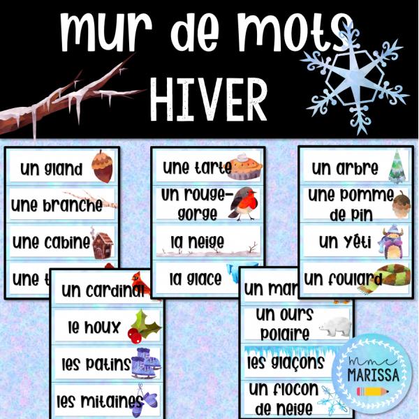 L'hiver: Mur de mots aquarelle