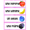 Les fruits: Mur de mots aquarelle