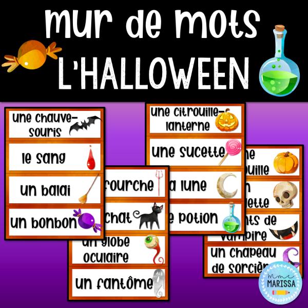 L'Halloween: Mur de mots aquarelle