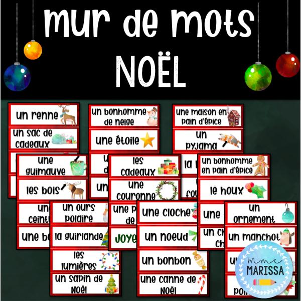 Noël: Mur de mots aquarelle