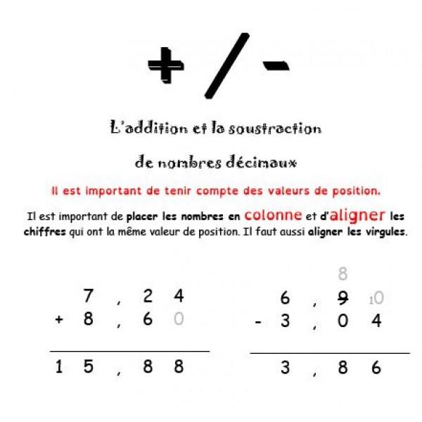 Nombres décimaux - addition et soustraction