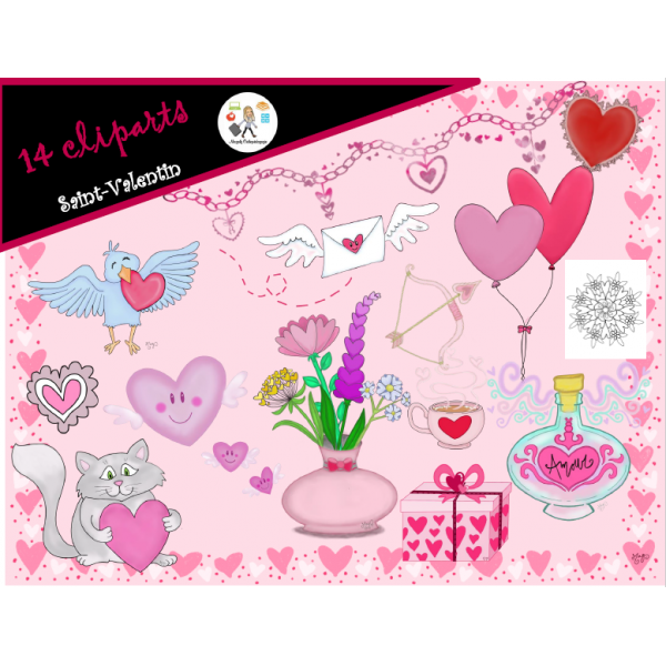 14 cliparts Saint-Valentin