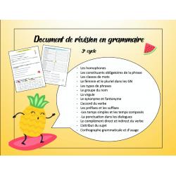 Grammaire: document de révision pour le 3e cycle