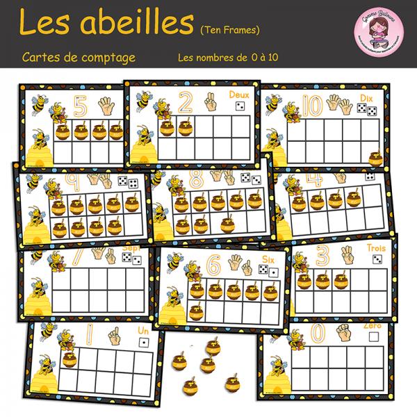 Les abeilles - Cartes de comptage (ten frame)