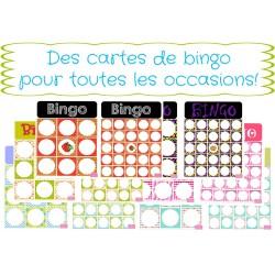Ensemble de cartes de bingo