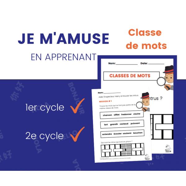 Classes de mots - Cahier d'activités de grammaire