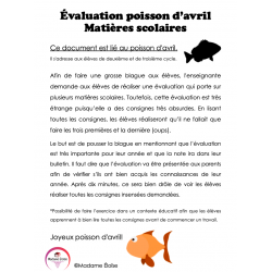 Poisson d'avril - Évaluation