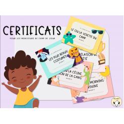Certificats pour le camp de jour