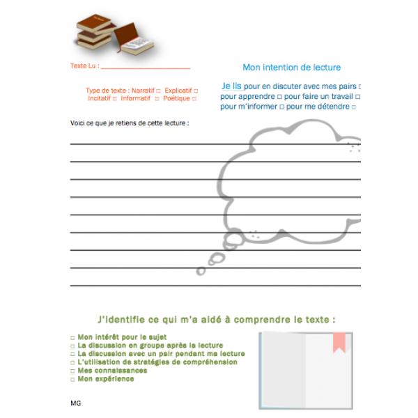Journal réflexif des stratégies de lecture