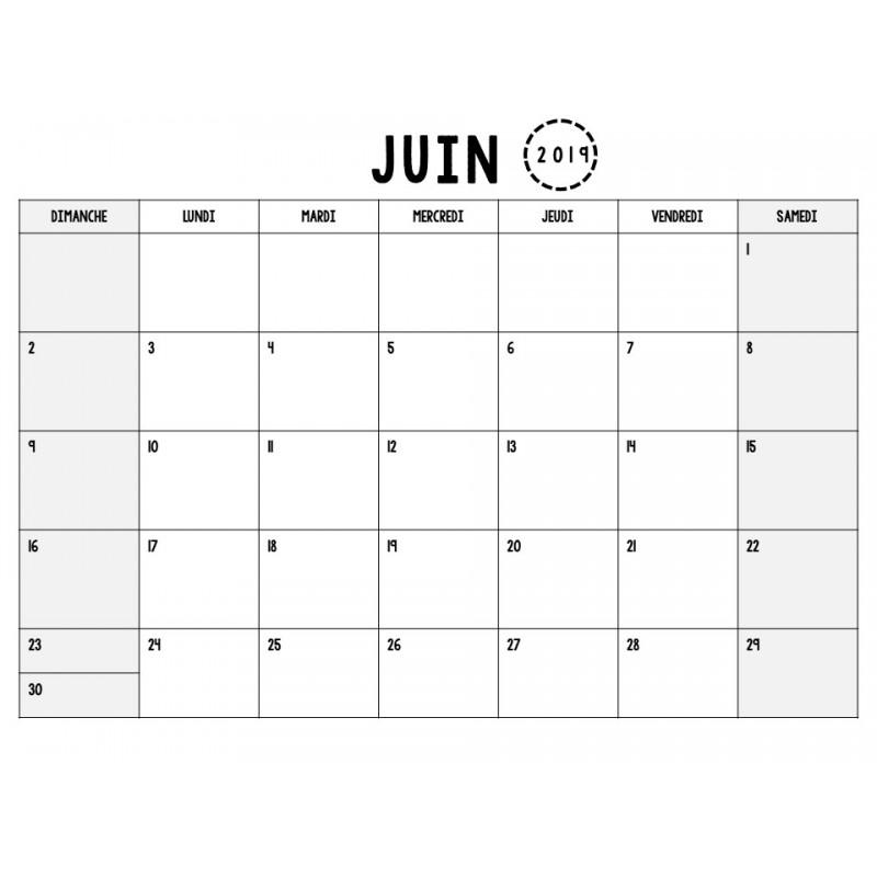 Calendrier Mensuel Juin 2019.Calendrier Mensuel 2018 2019