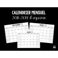 Calendrier mensuel 2018-2019