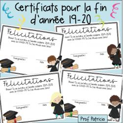 Certificats pour la fin d'année 19-20