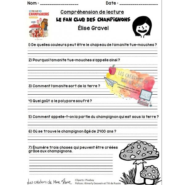 Compréhension lecture Fan club champignons