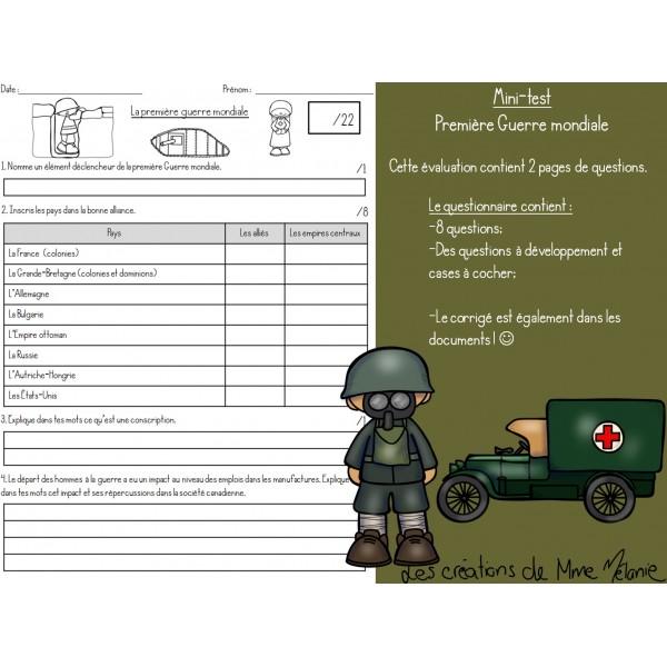 Minitest 1re Guerre mondiale
