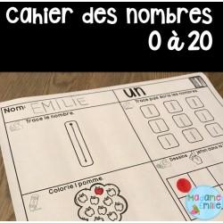 Cahier des nombres (0 à 20)