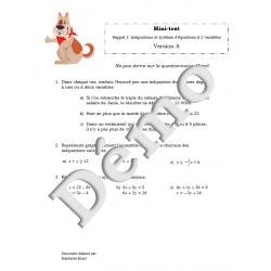Mini-test SN5 inéquations et systèmes d'équations