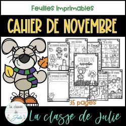 Cahier de novembre - activités imprimables